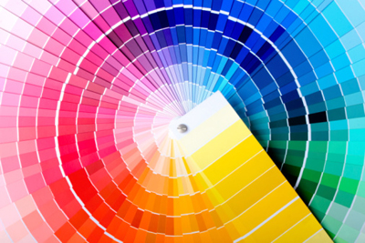 Close-up view of a color chart used for paint selection